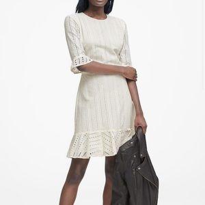 Banana Republic White Eyelet Fit-&-Flare Dress